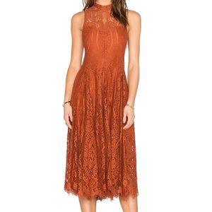 Free People Lace Trapeze Midi Dress Copper Small S